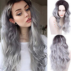Synthetic Wig Curly Body Wave Body Wave Middle Part Wig Long Grey Synthetic Hair 26 inch Women's Heat Resistant Fashion Ombre Hair Gray