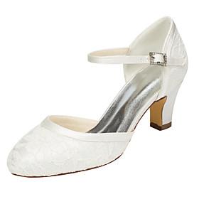 Women's Sandals Chunky Heel Round Toe Wedding Dress Party  Evening Crystal Elastic Fabric White / Ivory / EU41