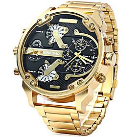 Men's Sport Watch Military Watch Wrist Watch Quartz Luxury Calendar / date / day Analog black / gold White / Gold Black / Stainless Steel / Stainless Steel / T