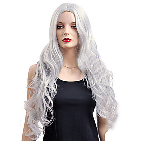 Synthetic Wig Cosplay Wig Wavy Kardashian Wavy Wig Very Long Silver Synthetic Hair Women's White