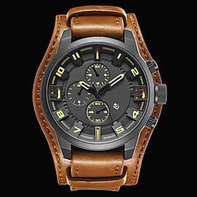Men's Sport Watch Fashion Watch Dress Watch Quartz Japanese Quartz Genuine Leather Black / Brown 30 m Water Resistant / Waterproof Calendar / date / day Cool A
