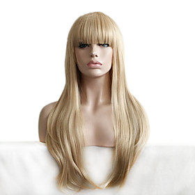 Synthetic Wig Wavy Wavy With Bangs Wig Blonde Long Blonde Synthetic Hair Women's Blonde