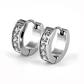 Men's Women's AAA Cubic Zirconia Hoop Earrings Luxury Fashion Stainless Steel Imitation Diamond Earrings Jewelry Silver For Wedding Party Daily Casual Sports M