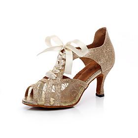 Women's Latin Shoes Sandal Sparkling Glitter Black / Gold / Silver / Leather / Practice / EU38