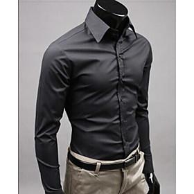 Men's Wedding Shirt Solid Colored Long Sleeve Slim Tops Business Streetwear White Black Yellow / Work