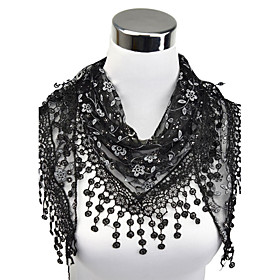Women's Work Lace Rectangle Scarf - Floral Cut Out / Tassel Fringe / Fabric