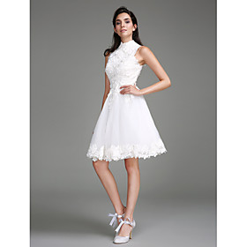 A-Line Wedding Dresses High Neck Knee Length Lace Regular Straps Little White Dress with Lace 2020