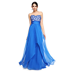 A-Line Elegant Prom Formal Evening Dress Sweetheart Neckline Sleeveless Floor Length Chiffon with Sash / Ribbon Ruched Beading 2020