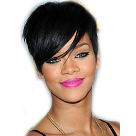 Human Hair Capless Wigs Human Hair Straight / Classic Bob / Short Hairstyles 2019 / With Bangs / with Baby Hair Natural Hairline Natural Machine Made Wig Women