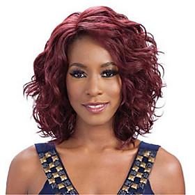 Synthetic Wig Wavy Wavy Wig Medium Length Dark Wine Synthetic Hair Women's Red