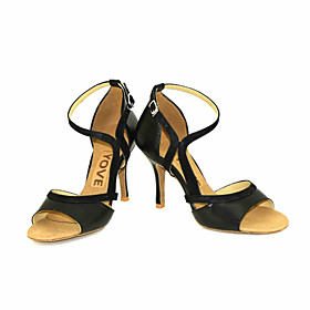 Women's Latin Shoes Sandal Heel Customized Heel Leather Leatherette Buckle Ribbon Tie Black / Yellow / Red / Performance / Salsa Shoes / Professional / EU38