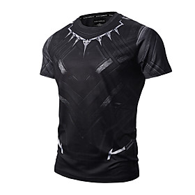 Men's 3D Graphic Print Slim T-shirt Active Punk  Gothic Daily Sports Going out Round Neck Black / Summer / Short Sleeve