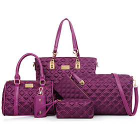 Women's Bags PU Leather / Nylon Bag Set 5 Pieces Purse Set Rivet Solid Colored Artwork for Formal / Outdoor / Office  Career Black / Purple / Fuchsia / Blue /