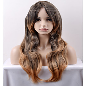 Synthetic Wig Loose Wave Loose Wave Wig Long Very Long Black / Honey Blonde Synthetic Hair Women's Brown