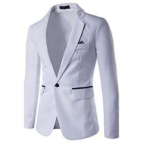 Men's Blazer Regular Color Block Daily Work Business Simple Casual Spring Summer Long Sleeve White / Black / Red US32 / UK32 / EU40 / US34 / UK34 / EU42 / US36