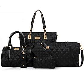 Women's Rivet Nylon Bag Set Bag Sets Solid Colored 5 Pieces Purse Set Black / Purple / Fuchsia