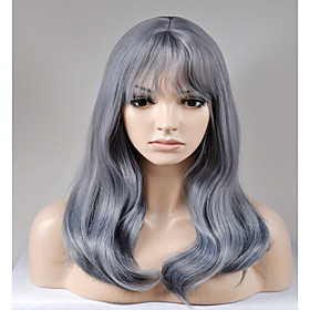 Synthetic Wig Loose Wave Loose Wave Wig Medium Length Grey Synthetic Hair Women's Gray