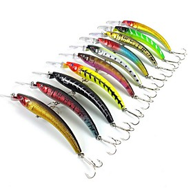 10 pcs Fishing Lures Hard Bait Minnow Sinking Bass Trout Pike Sea Fishing Bait Casting Spinning Hard Plastic / Jigging Fishing / Freshwater