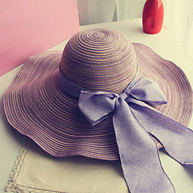 Women's Holiday Outdoor Straw Straw Hat Sun Hat-Solid Colored Bow Summer Navy Blue Purple Fuchsia