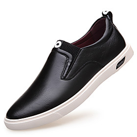 Men's Loafers  Slip-Ons Leather Shoes Comfort Loafers Comfort Shoes Casual Party  Evening Outdoor Leather Waterproof Breathability Antistatic Black Spring / Fa