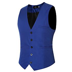 Men's Vest Regular Solid Colored Daily Work Spring Summer Long Sleeve Black / Purple / Red M / L / XL / Fall / Slim