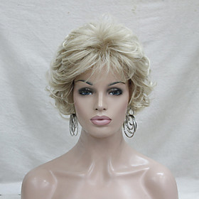 Synthetic Wig Curly Curly With Bangs Wig Blonde Short Blonde Synthetic Hair Women's Blonde