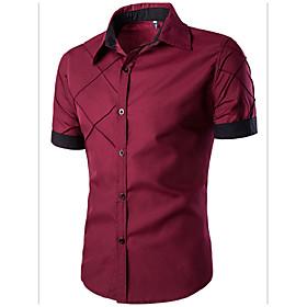 Men's Solid Colored Basic Slim Shirt Daily Spread Collar Wine / White / Black / Navy Blue / Summer / Short Sleeve