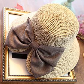 Women's Holiday Straw Straw Hat Sun Hat-Solid Colored Summer Beige Navy Blue Khaki