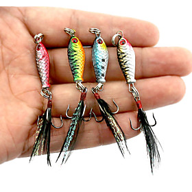 4 pcs Fishing Lures Jigs Metal Bait Fast Sinking Bass Trout Pike Sea Fishing Bait Casting Spinning Lead Metal / Jigging Fishing / Freshwate