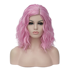 Synthetic Wig Wavy Wavy Bob Wig Pink Short Pink Synthetic Hair Women's Side Part Pink Purple