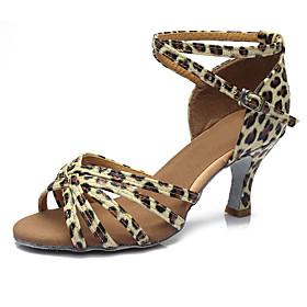 Women's Dance Shoes Latin Shoes / Ballroom Shoes / Salsa Shoes Sandal Heel Buckle Cuban Heel Customizable Leopard / Dark Brown / Black / Performance / Satin /