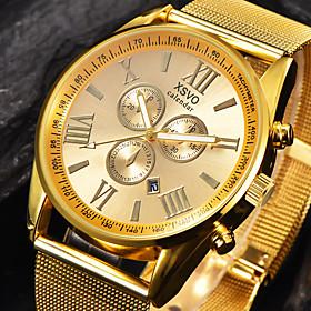 Men's Sport Watch Military Watch Wrist Watch Quartz Oversized Charm Calendar / date / day Analog Black / Silver Black Gold / Stainless Steel / Large Dial
