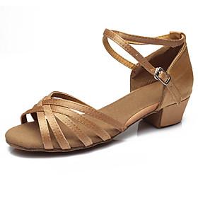Women's Dance Shoes Latin Shoes / Ballroom Shoes / Line Dance Sandal Buckle Low Heel Customizable Leopard / Dark Brown / Black / Performance / Satin / EU39