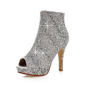 Women's Boots Stiletto Heel Peep Toe Sequin / Zipper PU(Polyurethane) Club Shoes Summer / Fall White / Black / Silver / Party  Evening