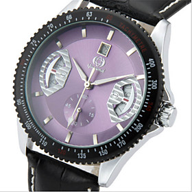 Men's Fashion Watch Quartz Casual Analog Purple Red Green / Leather