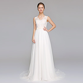 A-Line Wedding Dresses V Neck Court Train Chiffon Lace Bodice Regular Straps Simple Illusion Detail Backless with Appliques 2020