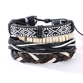 Men's Leather Bracelet woven Vintage Punk Leather Bracelet Jewelry Black For Christmas Gifts Anniversary Birthday Engagement Gift Sports