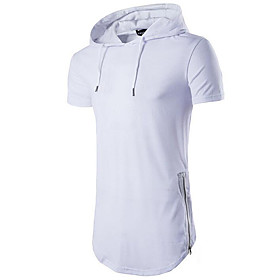 Men's Graphic Solid Colored T-shirt - Cotton Daily Sports Hooded Wine / White / Black / Blue / Red / Beige / Gray / Summer / Short Sleeve