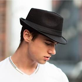 Men's Vintage Wool Blend Bucket Hat Fedora Hat-Solid Colored Black