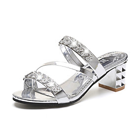 Women's Sandals Glitter Crystal Sequined Jeweled Chunky Heel / Block Heel PU Comfort Spring Gold / Silver