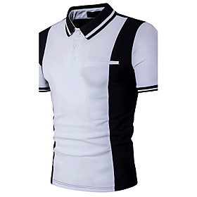 Men's Color Block Black  White Patchwork Slim Polo - Cotton Active Daily Weekend Shirt Collar White / Black / Summer / Short Sleeve