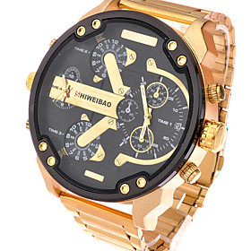 Men's Sport Watch Military Watch Bracelet Watch Charm Water Resistant / Waterproof Analog Black / Gold White / Gold Black / One Year / Stainless Steel / Calend