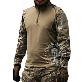 Men's Hunting T-shirt Outdoor Tactical Waterproof Windproof Breathable Spring Summer Fall Top Long Sleeve Hunting Leisure Sports Military / Tactical Camouflage