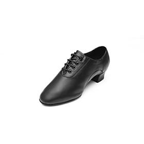 Men's Latin Shoes Sneaker Split Sole Chunky Heel Faux Leather Black / Performance / EU43