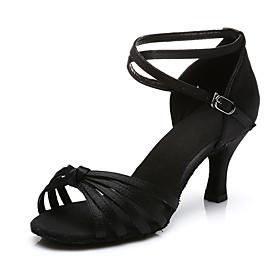 Women's Dance Shoes Latin Shoes / Ballroom Shoes / Salsa Shoes Sandal Heel Buckle Cuban Heel Customizable Leopard / Black / Red / Performance / Satin / EU40