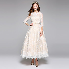 A-Line Wedding Dresses Bateau Neck Ankle Length Lace Over Satin 3/4 Length Sleeve Casual Boho See-Through Cute Illusion Sleeve with Lace Sash / Ribbon 2020