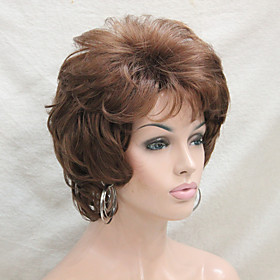 Synthetic Wig Curly Curly With Bangs Wig Short Medium Auburn Synthetic Hair Women's Side Part Brown