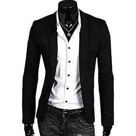 Men's V Neck Blazer Regular Solid Colored Daily Spring Fall Long Sleeve Linen White / Red / Navy Blue M / L / XL / Business Casual / Slim