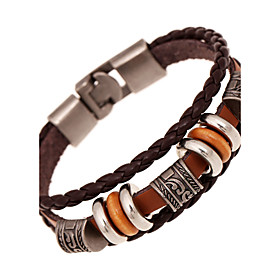 Men's Leather Bracelet Twisted woven Natural Fashion Leather Bracelet Jewelry Brown For Special Occasion Gift Sports
