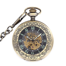 Men's Skeleton Watch Pocket Watch Mechanical Watch Quartz Mechanical manual-winding Steampunk Analog Black / Stainless Steel